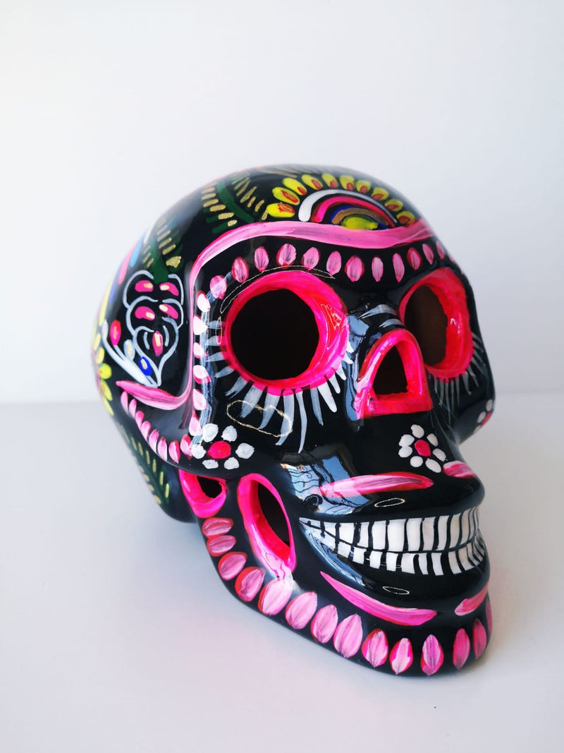 Large Hand-painted Ceramic Skull Glossy (IN STOCK) (black)