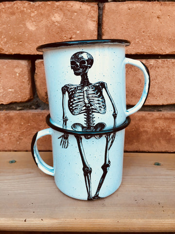 Calavera Enamel Mugs (2 coffee mugs) (ships in 2-4 weeks)