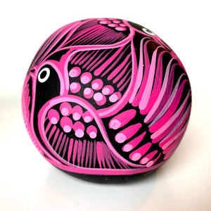 "3.5"" Hand-painted Ceramic Calavera, Matte, MH Black & Pink (in stock)"