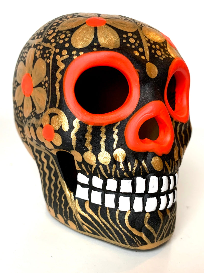 "3.75"" Medium Black and Gold Ceramic Calavera, Matte (in stock)"