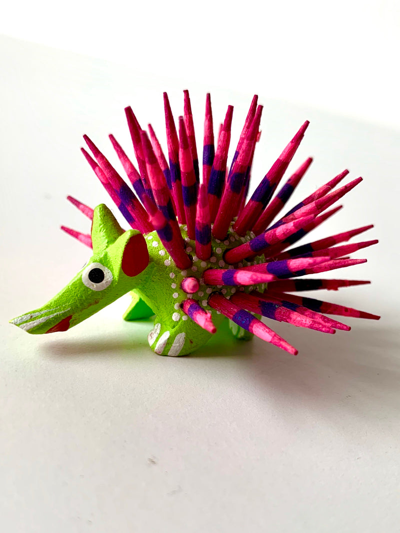 Mini Hand-painter Wooden Porcupine | Light Green (in stock)
