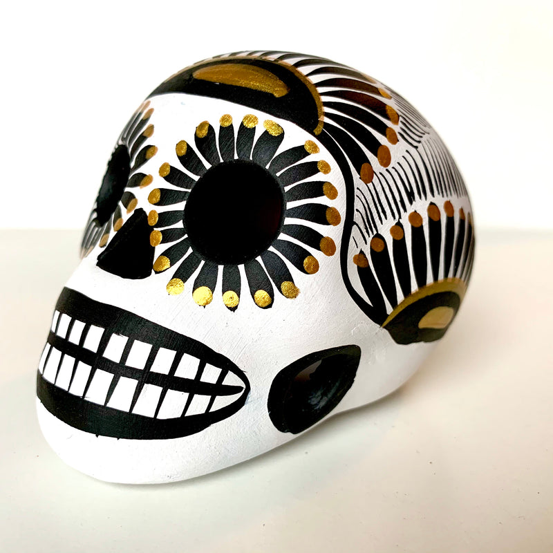 "3.5"" Hand-painted Ceramic Calavera, Matte, MH White (in stock)"