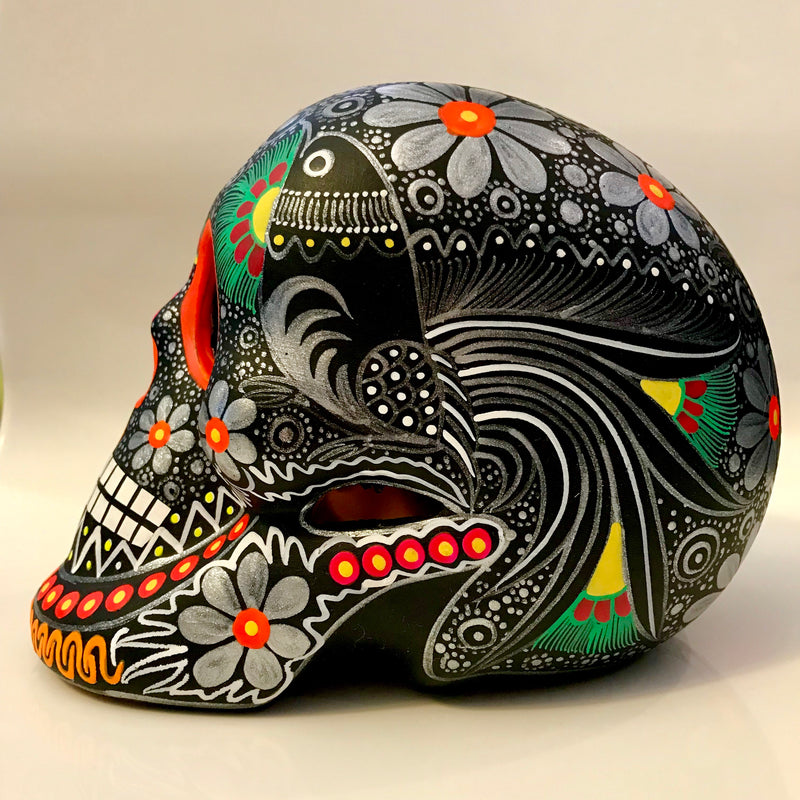 "7"" Black Hand-Painted Clay Skull Matte (ships in 2-8 weeks)"