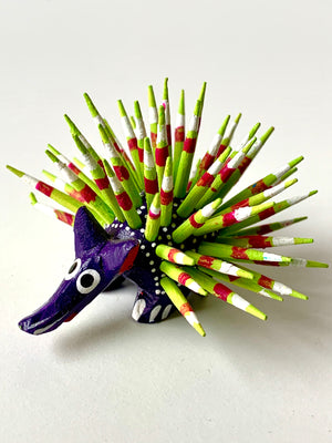 Mini Hand-painter Wooden Porcupine | Purple (in stock)