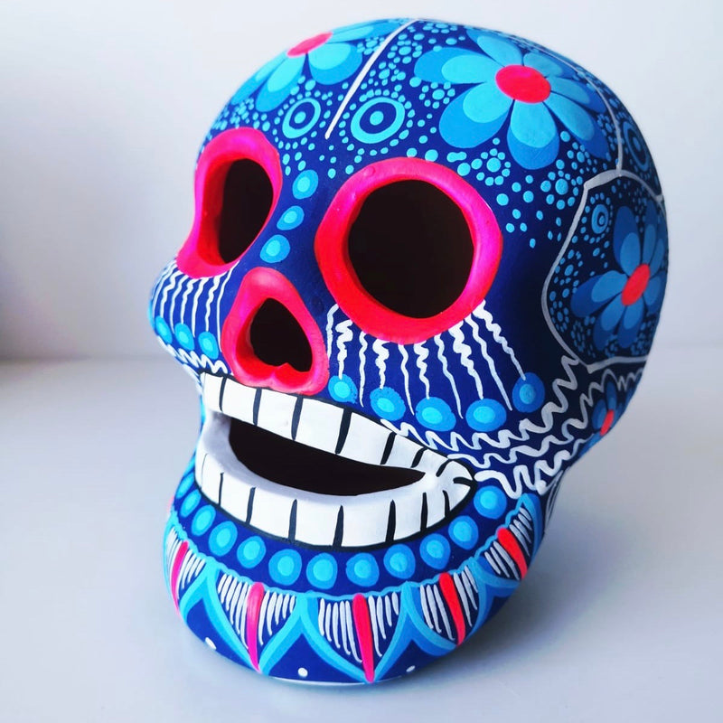Large Hand-painted Ceramic Skull Matte (ships in 2-8 weeks) (blue)
