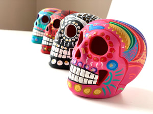 "3.75"" Medium Ceramic Calavera, Matte, Pink (in stock)"