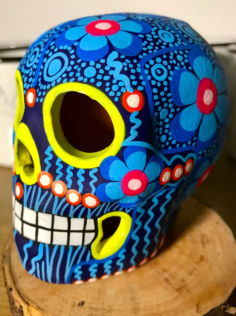 "3.75"" Blue and Yellow Medium Ceramic Calavera, Matte (in stock)"