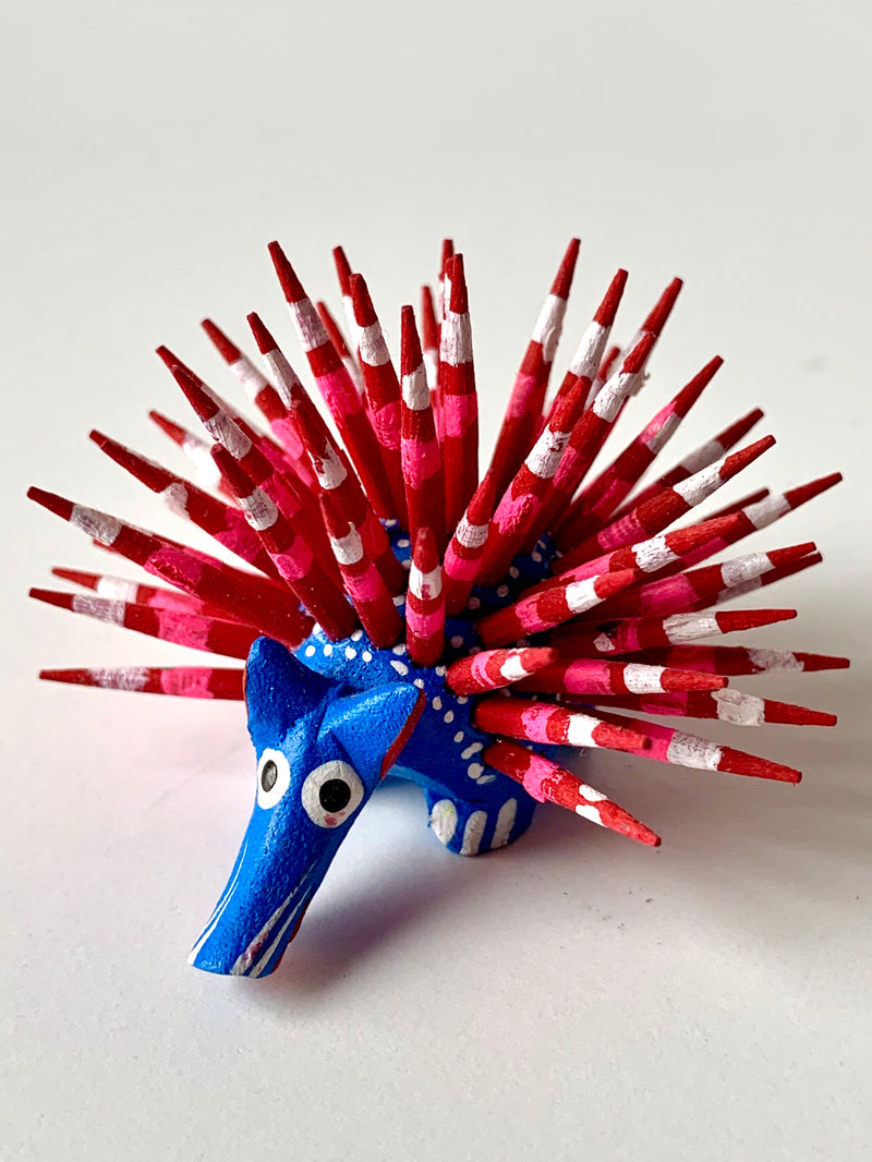 Mini Hand-painter Wooden Porcupine | Blue (in stock)