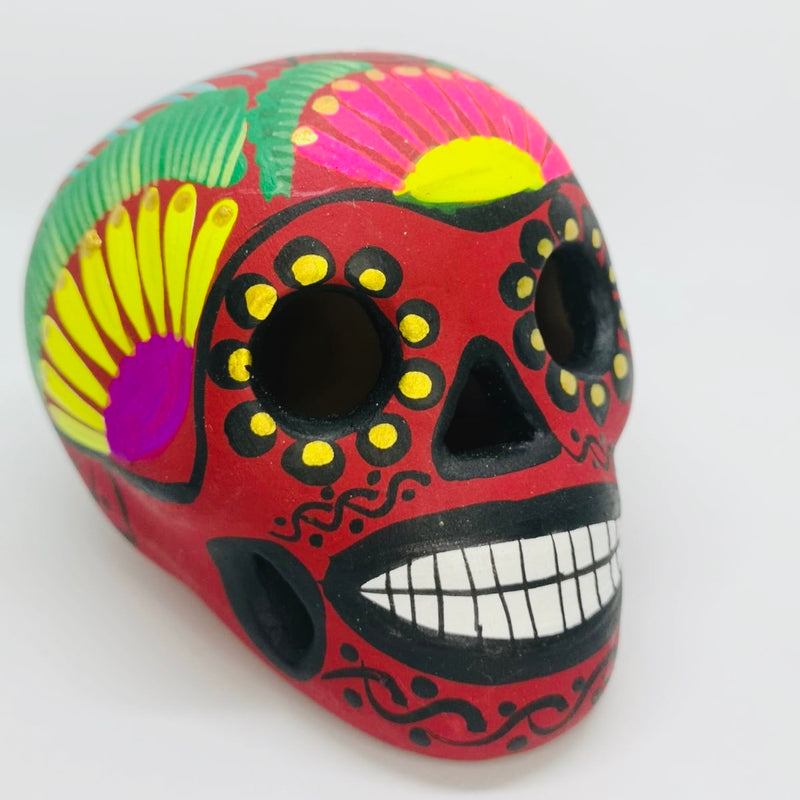 "3.5"" Hand-painted Ceramic Calavera, Matte"