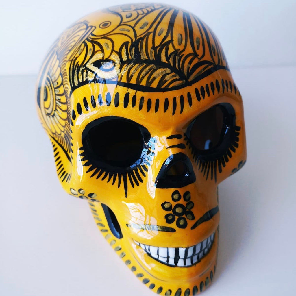 Large Hand-painted Ceramic Skull Glossy (in stock) (yellow)