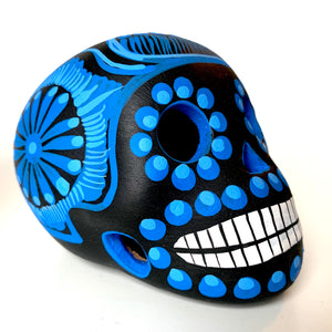 "3.5"" Hand-painted Ceramic Calavera, Matte, MH Black & Blue (in stock)"