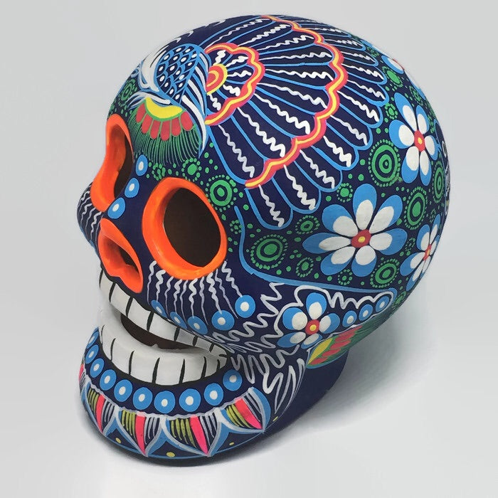 Large Hand-Painted Ceramic Calavera Matte (ships in 4-8 weeks)