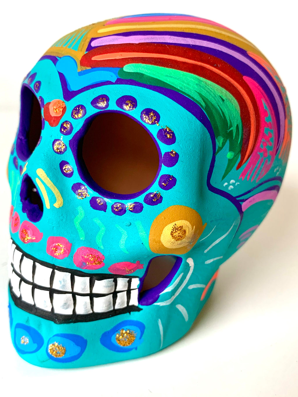 "3.75"" Medium Ceramic Calavera, Matte, Light Blue (in stock)"