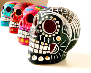 "3.75"" Medium Ceramic Calavera, Matte, Black (in stock)"