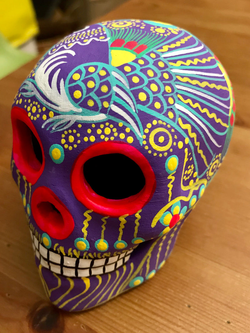 "3.75"" Medium Lilac Bird Ceramic Calavera, Matte (ships in 2-8 weeks)"