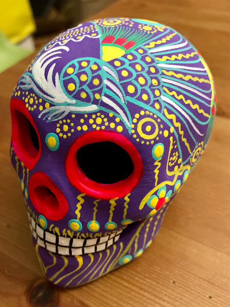 "3.75"" Medium Lilac Bird Ceramic Calavera, Matte"