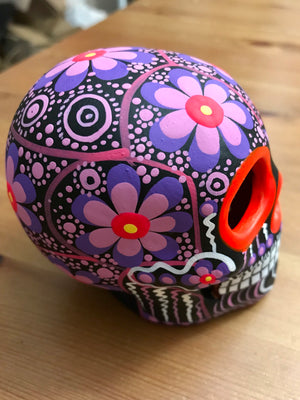 "3.75"" Medium Purple Flower Bird Ceramic Calavera, Matte (in stock)"