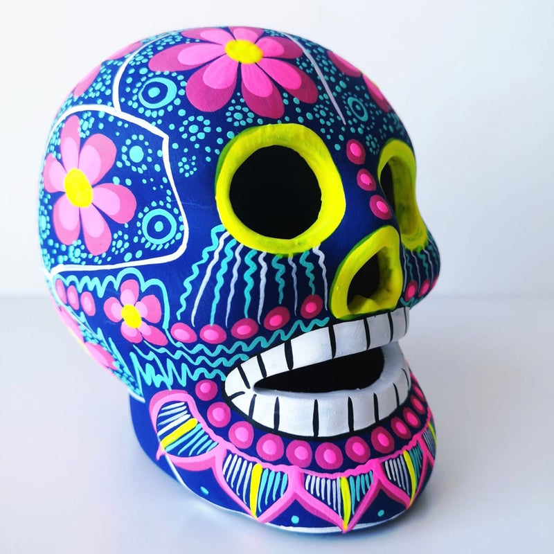Large Hand-painted Ceramic Skull Matte (Blue and Pink) (ships in 2-8 weeks)