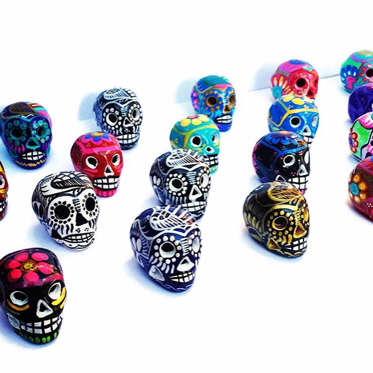 Assortment of Miniature Ceramic Sugar skulls, Four Count, Glossy (ships in 2 weeks)