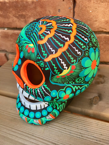 "5"" Hand-painted Green Ceramic Calavera"