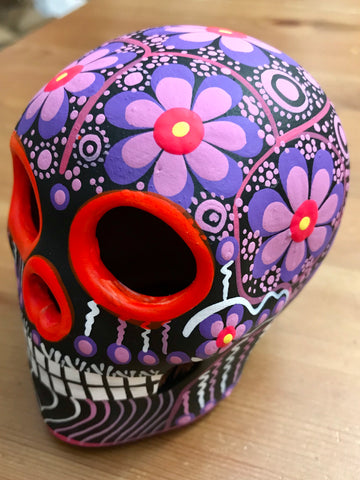 "3.75"" Medium Purple Flower Bird Ceramic Calavera, Matte"