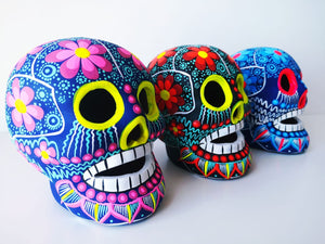 Large Hand-painted Ceramic Skull Matte (IN STOCK) (black, teal & red)
