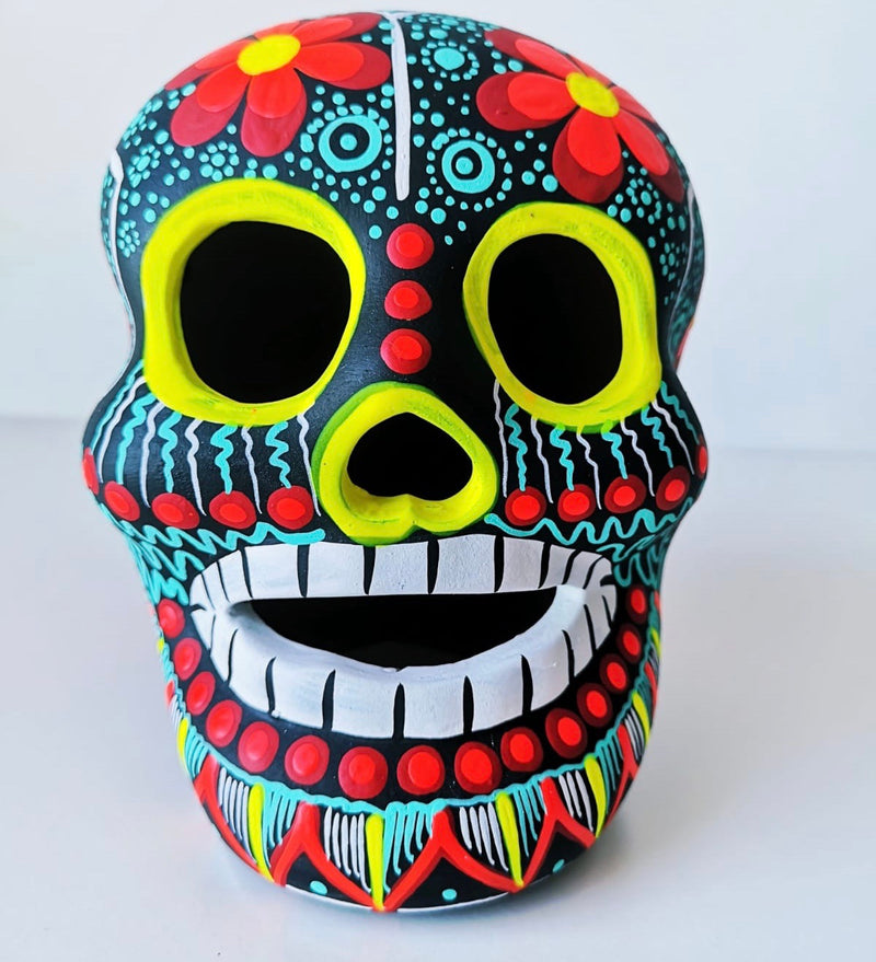 Large Hand-painted Ceramic Skull Matte (black, teal & red) (ships in 2-8 weeks)