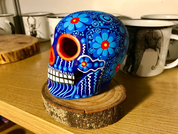 "3.75"" Blue and Orange Medium Ceramic Calavera, Matte"