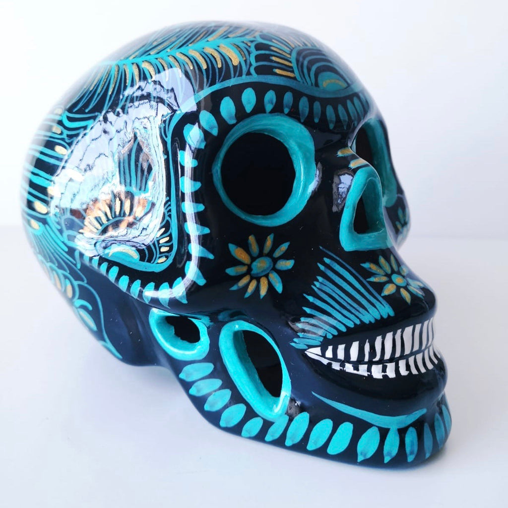 Large Hand-painted Ceramic Skull Glossy (In stock)