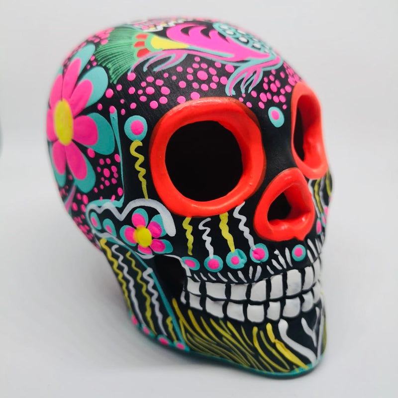 "3.75"" Black & Pink Ceramic Calavera, Matte (in stock)"