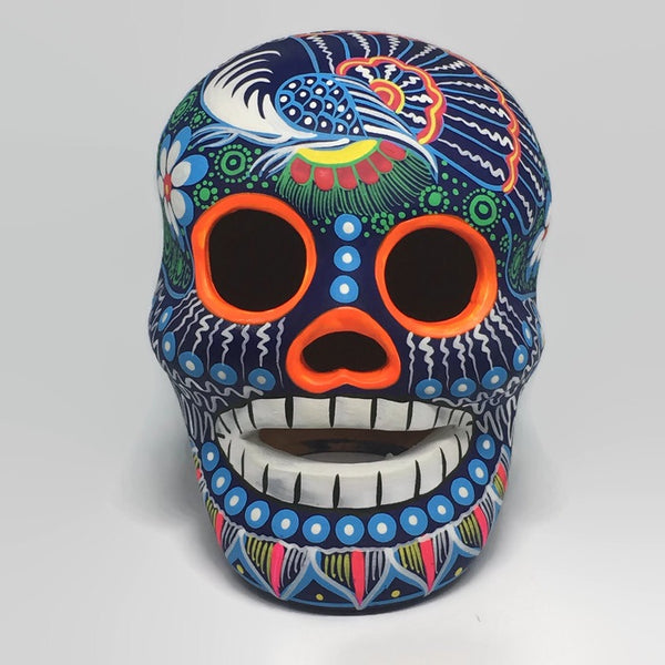 Large Hand-Painted Ceramic Calavera Matte