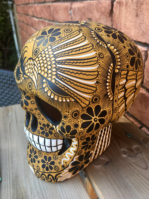 "7"" Hand-Painted Mustard Ceramic Calavera Matte (ships in 2-8 weeks)"