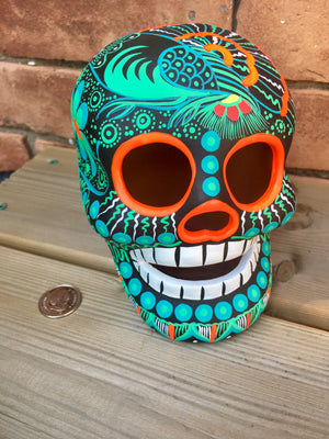 "5"" Hand-painted Green Ceramic Calavera (ships in 2-8 weeks)"