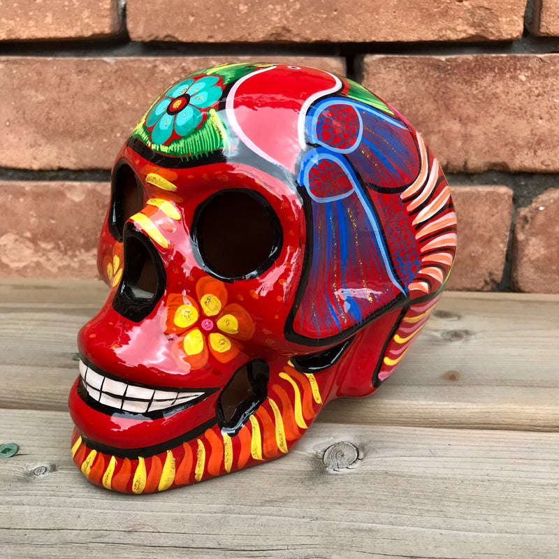 "6"" Large Hand-painted Red Ceramic Calavera, Glossy (ships in 2-5 days)"
