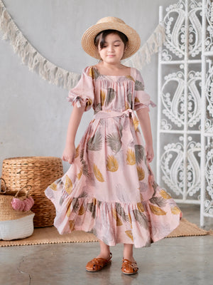 Marcel Dress with Bow Sash | Dusty Pink