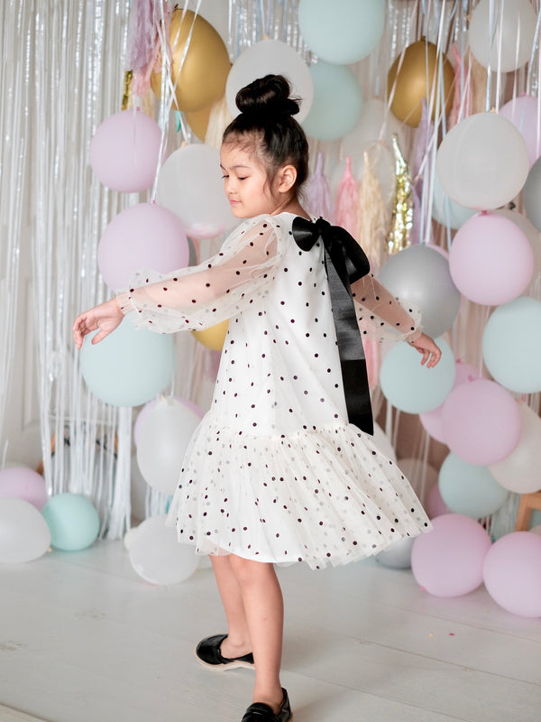 Cielo Dot Dress (Off-White / Black)