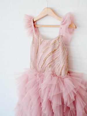 Laurette Tutu Dress | Dusty Pink & Gold