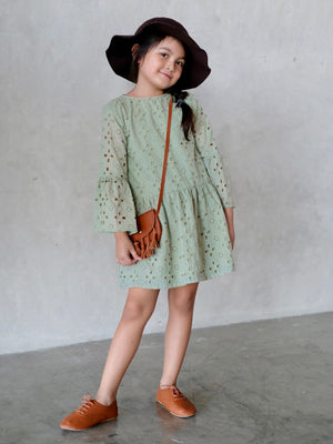 Laura Eyelet Cotton Dress (Sage)