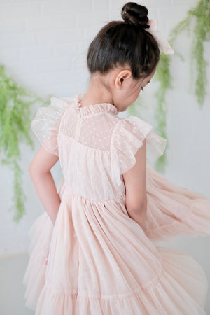 Lulu Dress | Set with Bow | Nude