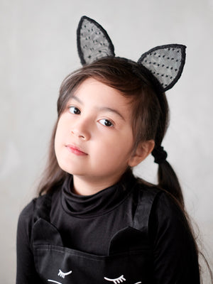 Kitty Ear Dotted Lace Headband | Black