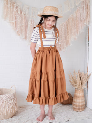 Piper 2-in-1 Jumper / Skirt in Caramel Linen