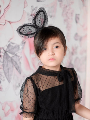 Bunny Ear Dotted Lace Headband | Black