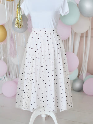 Polka Mesh Skirt | Adult Size in White