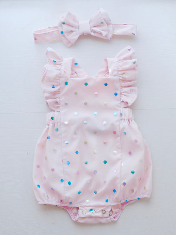 Meggy Confetti Romper with Headband | Tiny
