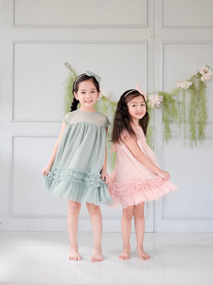 Trudi Dress | Set With Bow Headband | Sage