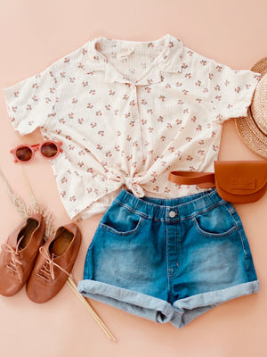 Palm Print Button-down Top