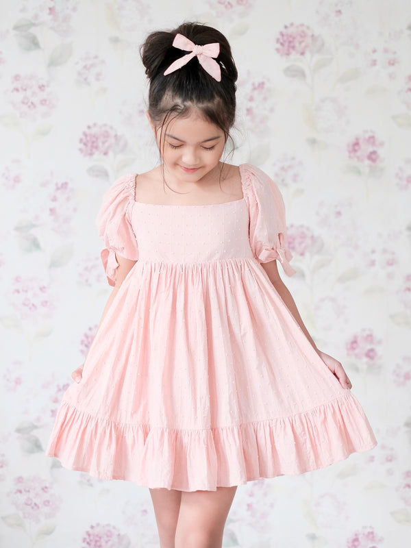 Maisie Dress | Set with Bow in Blush