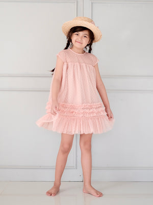 Trudi Dress | Set With Bow | Peachy Nude