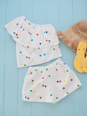 Marni Matching Set (Top & Shorts) | Rainbow Polka Dot