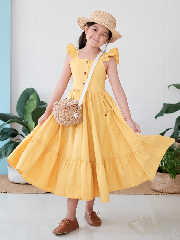 Irina Yellow Linen Dress